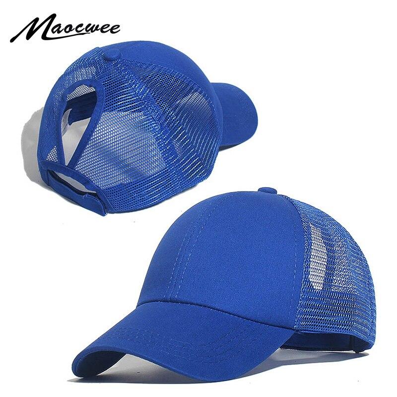 Cotton Baseball Cap Summer Breathable Unisex Mesh Sun Hats Adjustable Snapback Hats Sunhat Bright Powder Ponytail Baseball Cap