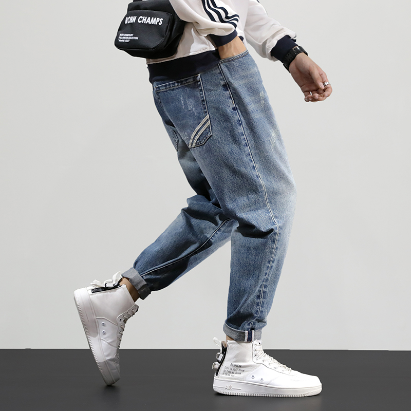 Fashion Streetwear Men Jeans Loose Fit Retro Blue Wash Harem Pants Tapered Trousers Korean Style Hip Hop Jeans Men Pencil Pants