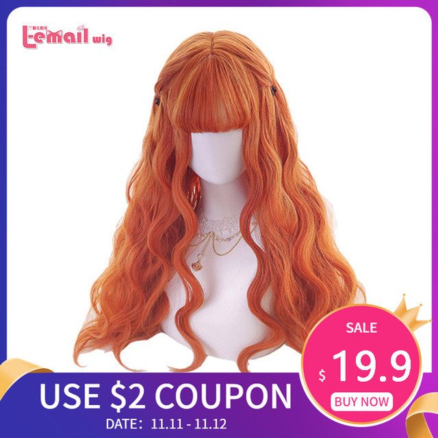 L email peluca larga de pelo ondulado para mujer, peluca de estilo Harajuku para Halloween, pelo sintético resistente al calor, color naranja