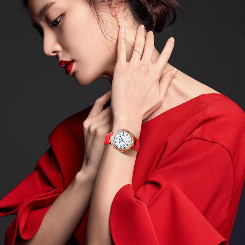 Carnival Women Watches Luxury Diamond Ladies Quartz Watch Leather Strap Wrist Watch Relogio Feminino - 2
