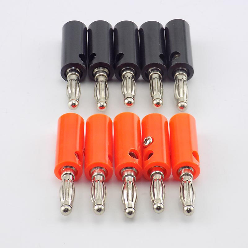 1/10pcs 4mm Banana Plate Plugs Connectors Red And Black Solderless For Audio Speaker Video Musical DIY Adapter H10