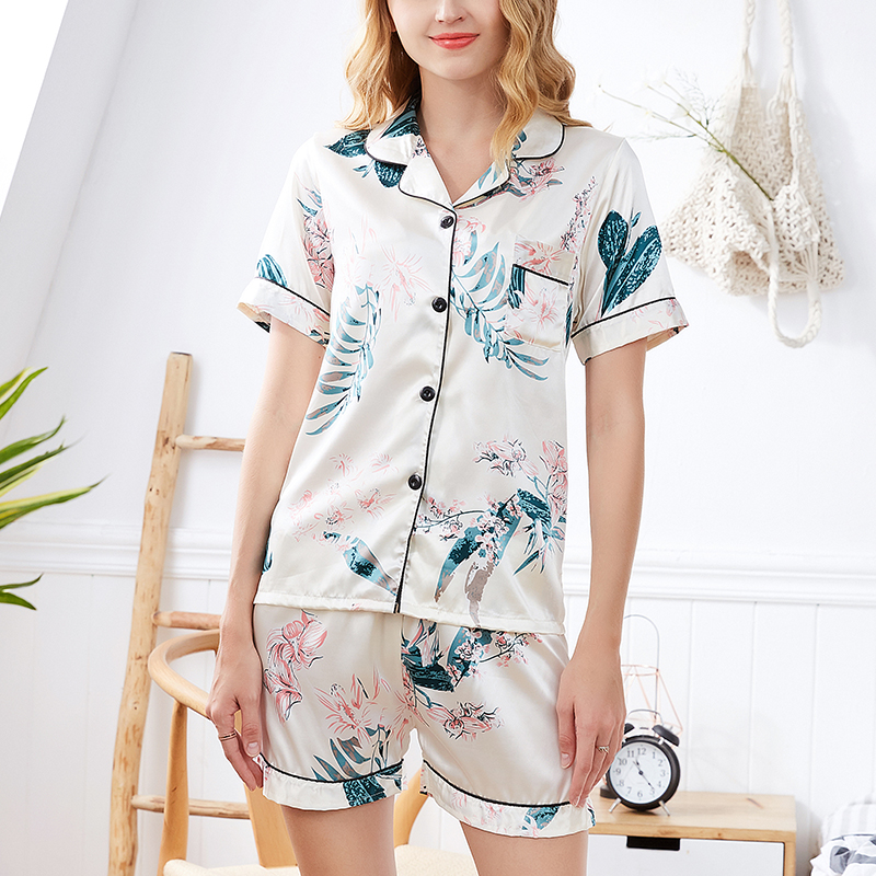 FallSweet Silk Pajamas for Women Short Sleeves Ladies Sleepwear Print Two Piece Set  Nightwear Casual