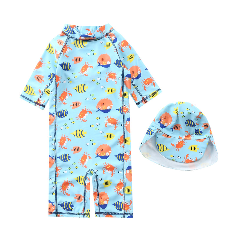 KID'S Swimwear Boy One-piece Swimwear Infants Baby Cute BOY'S Korean-style Surfing Suit Children Tour Bathing Suit