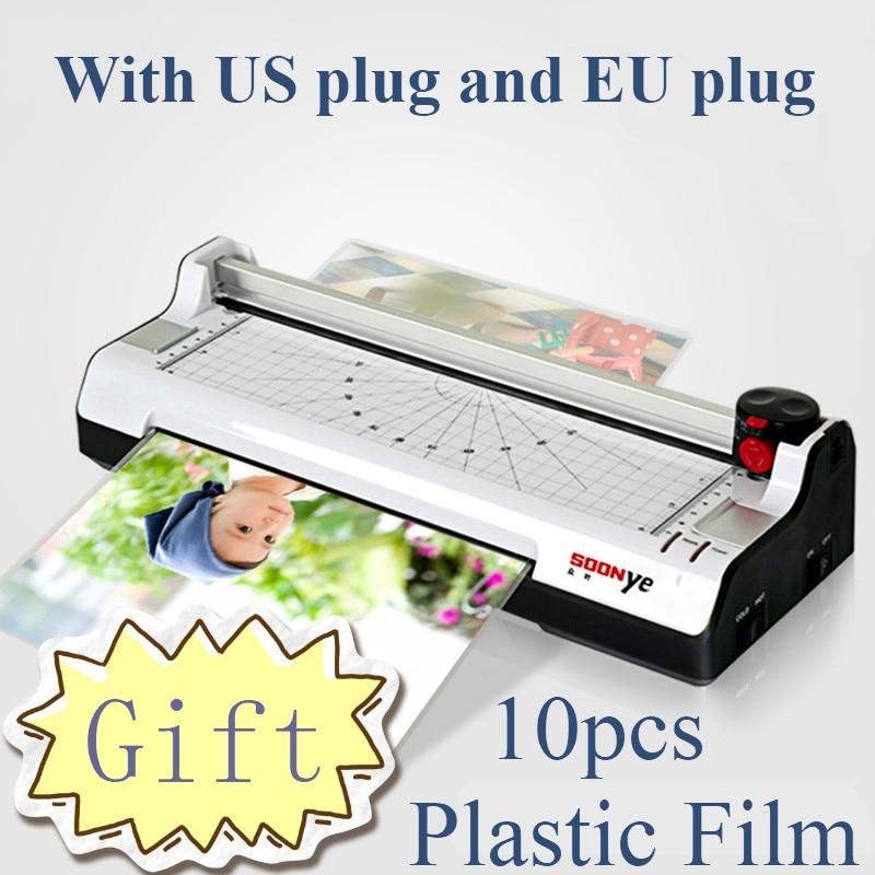 Yeni akıllı fotoğraf laminar A4 giyotin makinesi mühürlü plastik laminasyon makinesi sıcak soğuk laminasyon cihazı Plastificadora Laminat torbalar