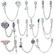 BISAER 925 srebro Pave inspiracja gwiazda łańcuch bezpieczeństwa wyczyść CZ korek Charms Fit bransoletka DIY koralik do tworzenia biżuterii