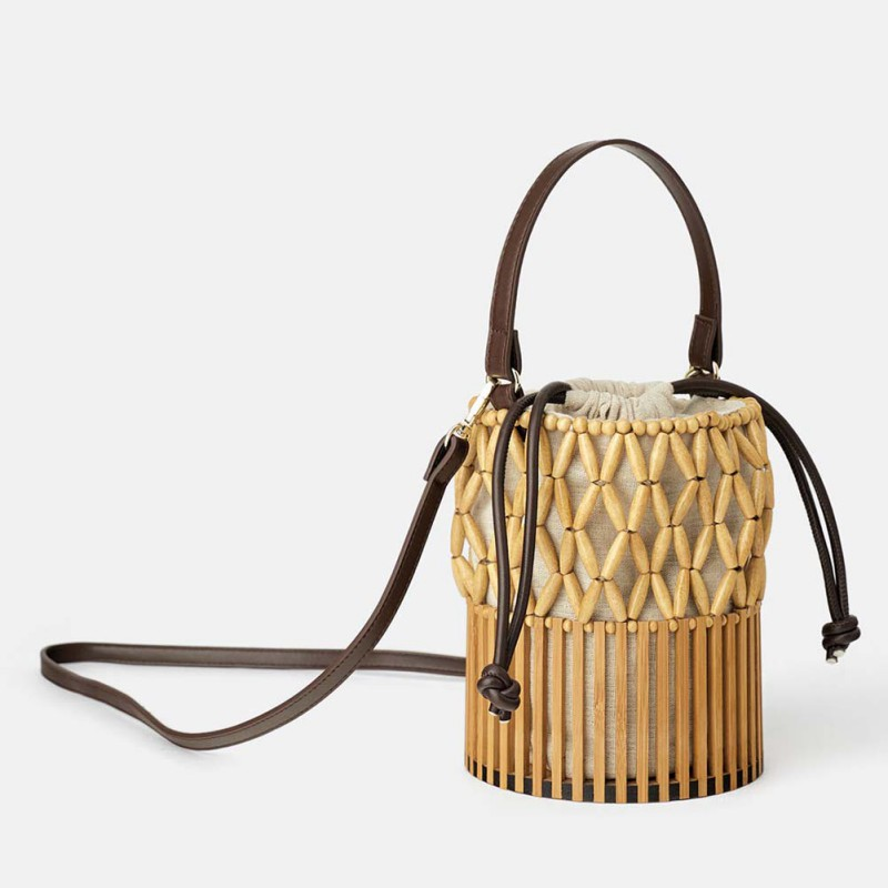 Fashion Women Bamboo Beach Bag Woven Canvas Shoulder Bag Shopping Bucket Bag (With Scarf)