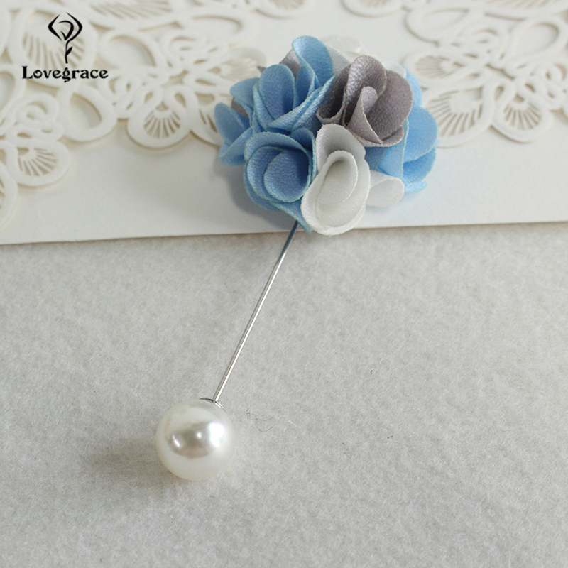Pearl Decor Wedding Women Brooch Pin Fabric Flower Corsage Groom Boutonniere Buttonhole Wedding Planner Marriage Corsage Flower