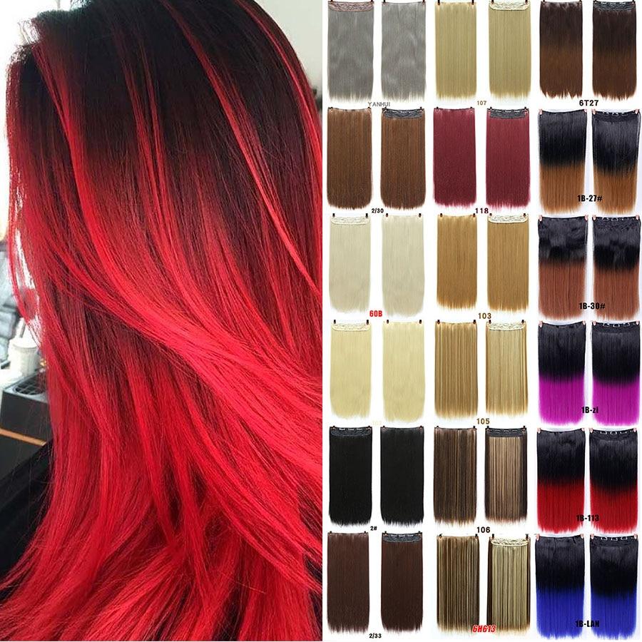 MUMUPI longue pince droite dans l'extension de cheveux une pièce 24 pouces 60CM couleurs droites postiche pince synthétique dans les extensions de cheveux