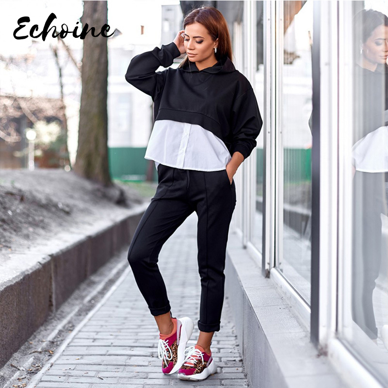 Winter Women Set Full Sleeve Hooded Tracksuit Shirt Patchwork Tops Pants Suit Two Piece Set Night Club Sporty Outfits Plus Size