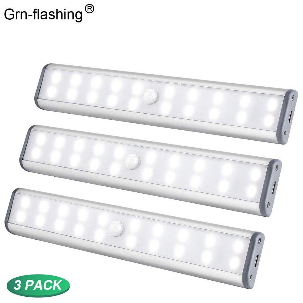 3 Pcak 20 LEDs LED Under Cabinet Lights USB Rechargeable  Magnetic PIR Night Light White Light Cabinet Closet Wardrobe Lighting