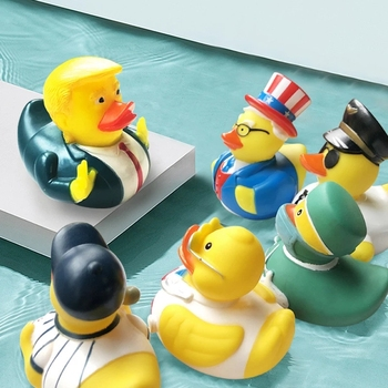 1 Pcs Baby Bath Toys Us President Trump Funny Rubber Duck Sound Squeaky Bathly Water Floating Yellow Duck Kid's Toy 1