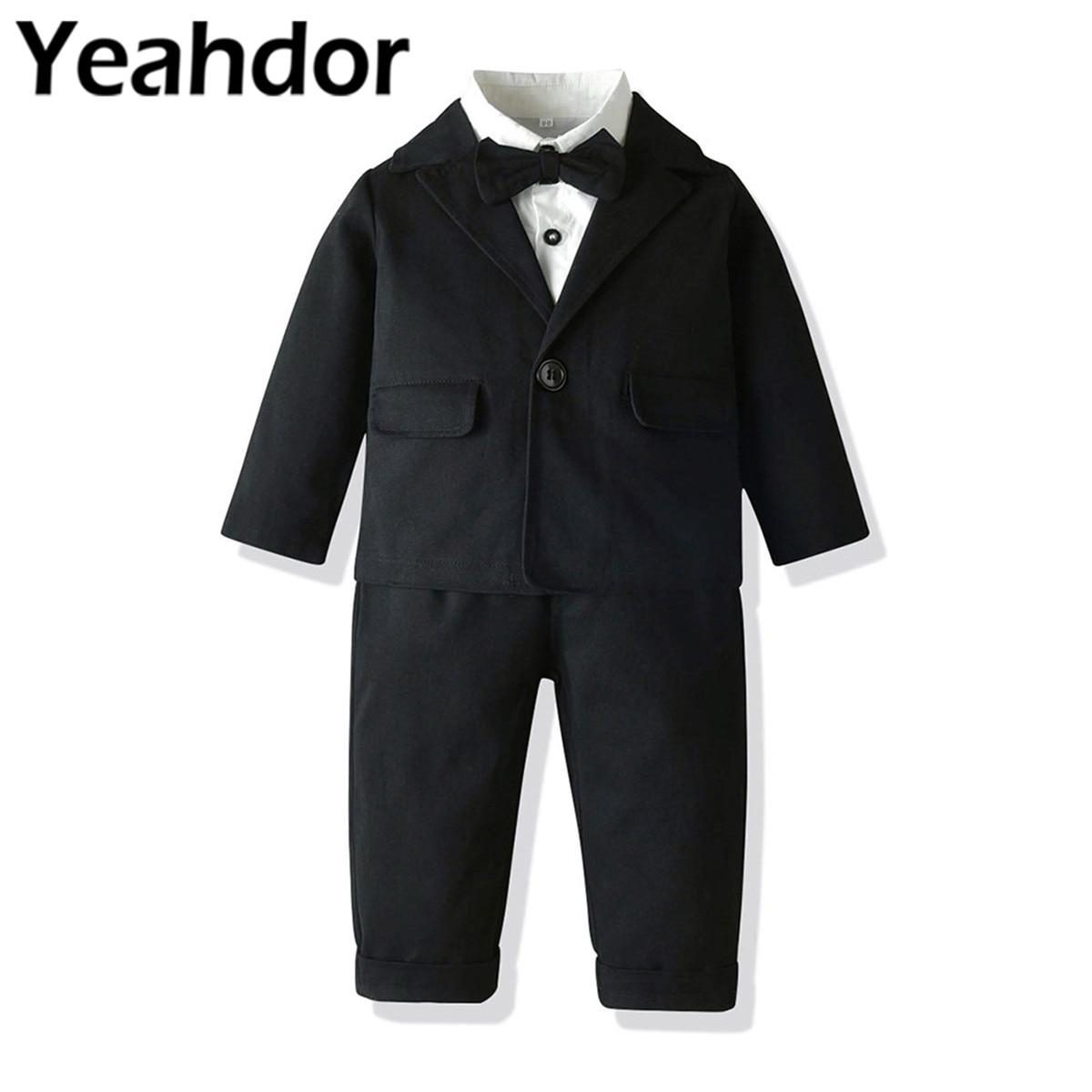 2021 Boys Wedding Suits Bowtie White Shirt + Suspenders Pants Blazer Children's Formal Outfit Boy's Gentleman Costume Dress Suit