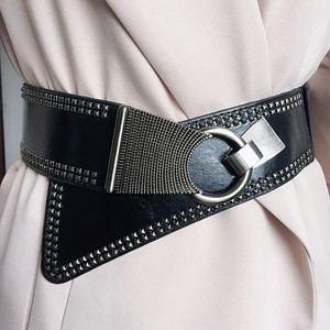 2019 Punk Style Rivets Beading Round Buckle Women Belt Female Pu Leather Super Wide 9CM Belts Ceinture Femme Leisure Cummerbunds