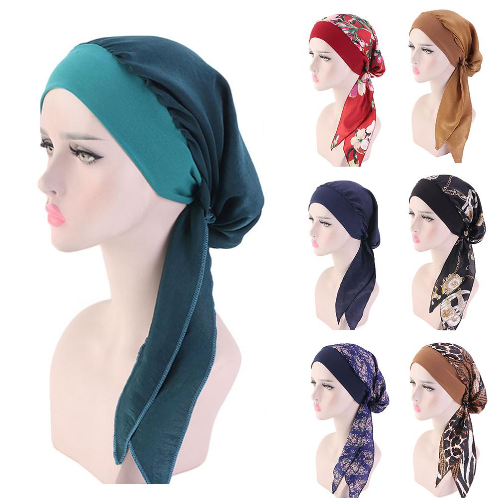 Women's Chemo Hat Head Scarf New Pre Tied Turban Head Scarves Headwear Beanie Head Scarf Summer Fashion Headwear