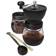 Coffee-Grinder Burr Conical Millstone Ceramic Manual Portable with Storage-Jar Soft-Brush
