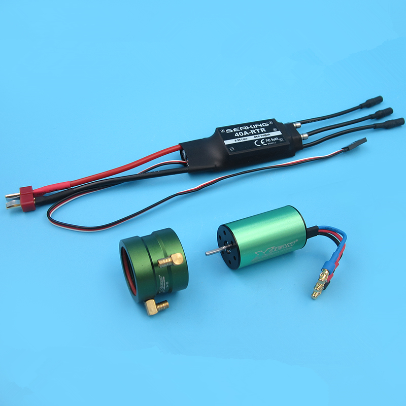 RC Boat power kit <font><b>2S</b></font>-3S Water cooled two-way 40A brushless ESC 2440 brushless <font><b>motor</b></font> Water-cooled sleeve image