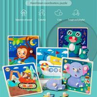 子供のための木製の3Dパズル,1ピース,動物の漫画,子供のおもちゃ,赤ちゃんのパズル,おもちゃ,フェスティバルギフト