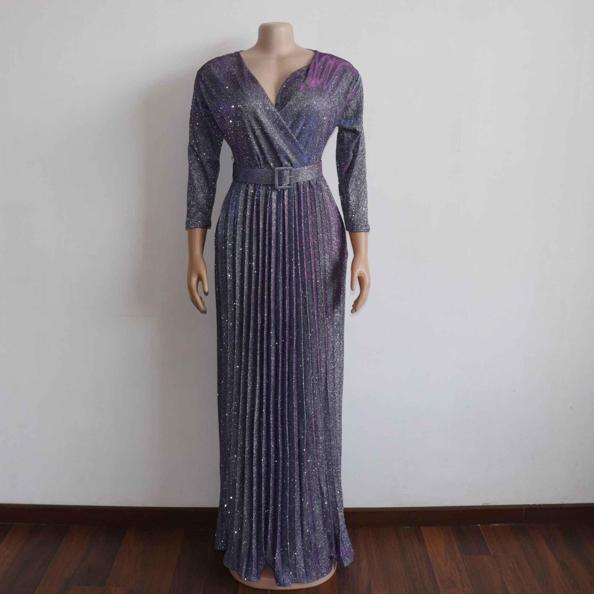 2020 רעיוני ארוך שמלות נשים מסיבת הלילה סקסי V צוואר אלגנטי חגורת נצנצים מקסי ורוד קפלים שמלת Vestidos Robe Femme