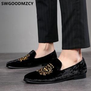 Image 5 - Resmi ayakkabı erkekler klasik İtalyan marka erkek parti ayakkabıları kuaför nakış Mens elbise ayakkabı mokasen Sepatu üzerinde kayma Pria 48 Bona