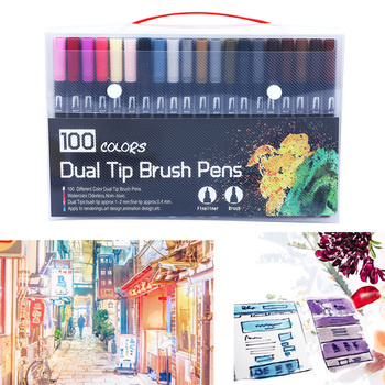 100 Colors Dual-Tip Watercolor Marker Water Coloring Brush Pen Set for Kids Adults Painting Drawing Sketching Black Handle