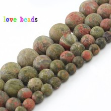 цена Natural Matte Unakite Stone Beads 4/6/8/10/12mm Round Loose Minerals Beads for  Jewelry Making DIY Bracelet Necklace 15