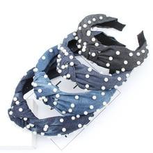 Xugar Hair Accessories Korea White Pearl Women Headband Cowboy Fabric Cross Hoop Fashion Wide Side Female Headwear