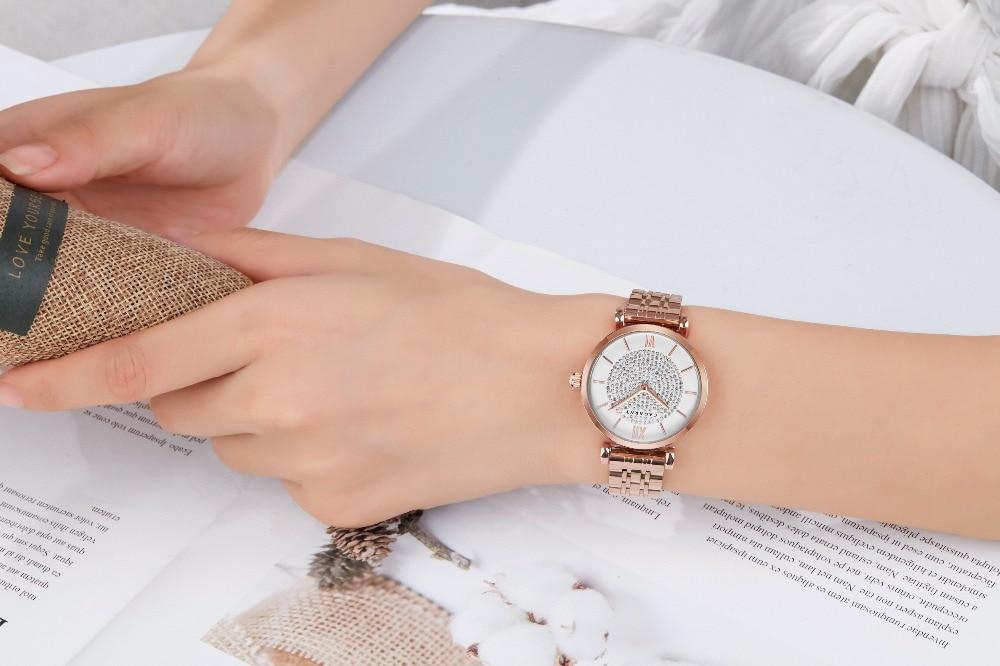 Ha57b9c6c19c841c398b7ffda1f40b394G Silver Rose Gold Stainless Steel Bracelet Watch For  Women