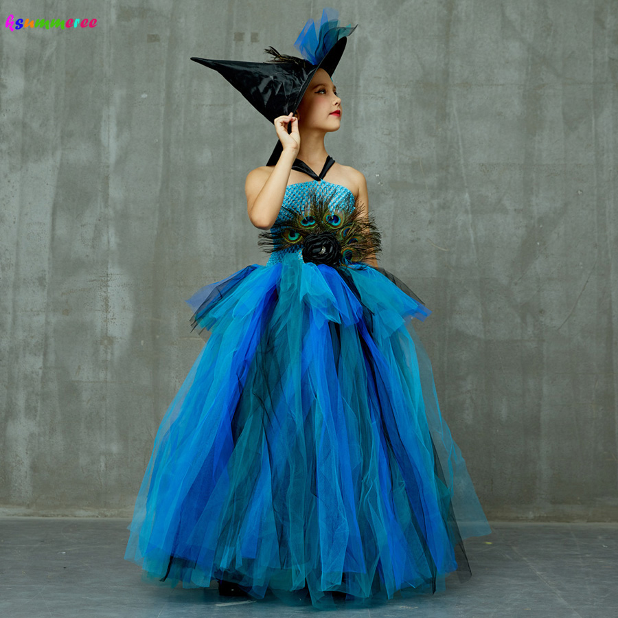Girls Deluxe Peacock Feather Tutu Dress with Witch Hat Children Fancy Purim Pageant Birthday Party Costume Kids Prom Ball Gown 3
