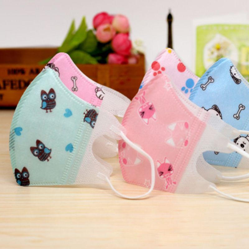 10Pcs/Pack Toddler Kids Disposable Dustproof Non Woven Cartoon Animal Mouth Mask Q0KD