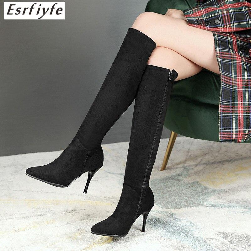 ESRFIYFE Winter Shoes Women Boots High-Boots Over-The-Knee New Zipper Thin All-Match
