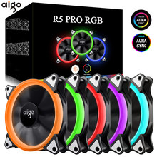 Aigo 120mm Fan PC Case Fan Cooler Adjustable Aurora RGB Led Computer Cooling Fan 12V Mute Ventilador PC Case Fan for Computer(China)