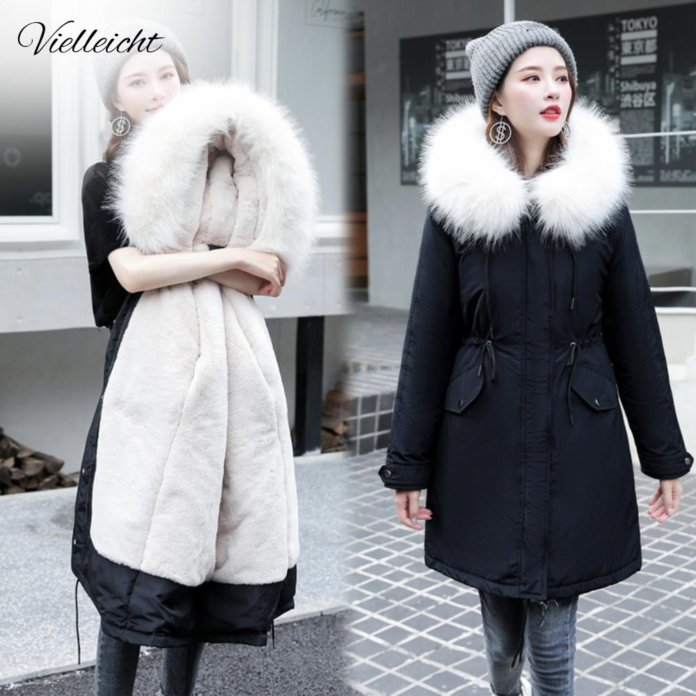 Vielleicht -30 Degrees Snow Wear Long Parkas Winter Jacket Women Fur Hooded Clothing Female Fur Lining Thick Winter Coat Women