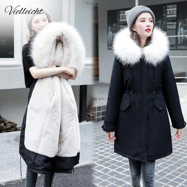 Vielleicht  30 Degrees Snow Wear Long Parkas Winter Jacket Women Fur Hooded Clothing Female Fur Lining Thick Winter Coat Women