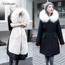 Vielleicht  30 градусов зимняя одежда Длинные парки зимняя куртка женская меховая одежда с капюшоном женская меховая подкладка Толстое Зимнее пальто для женщин