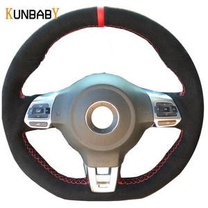 Image 1 - KUNBABY الأسود الجلد المدبوغ اليد مخيط سيارة غطاء عجلة القيادة ل Volkswagen جولف 6 GTI MK6 VW بولو GTI Scirocco R Passat CC R لين