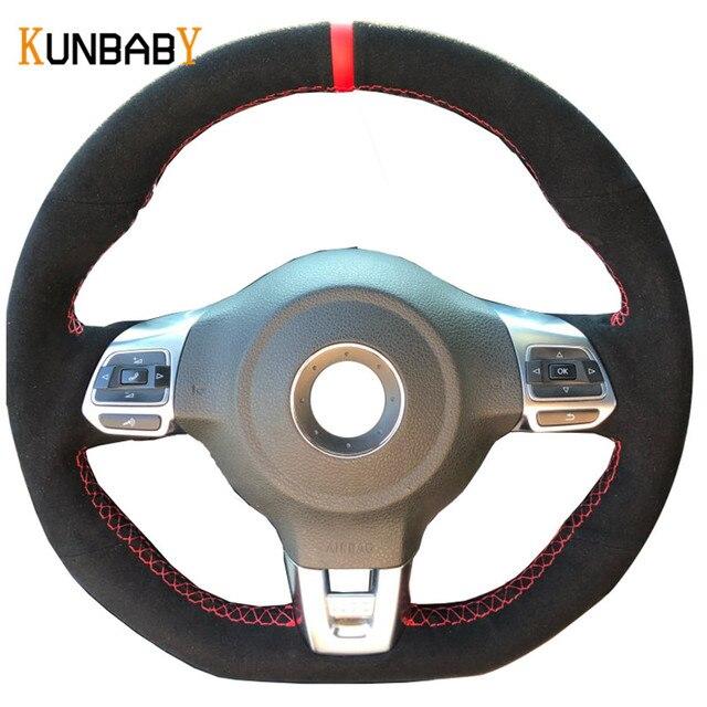 KUNBABY الأسود الجلد المدبوغ اليد مخيط سيارة غطاء عجلة القيادة ل Volkswagen جولف 6 GTI MK6 VW بولو GTI Scirocco R Passat CC R لين