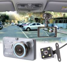Hot Dash Cam Dual Lens Car DVR Camera Full HD 1080P 4inch Touch IPS Screen Front+Rear Night Vision Video Recorder Parking Monito(China)