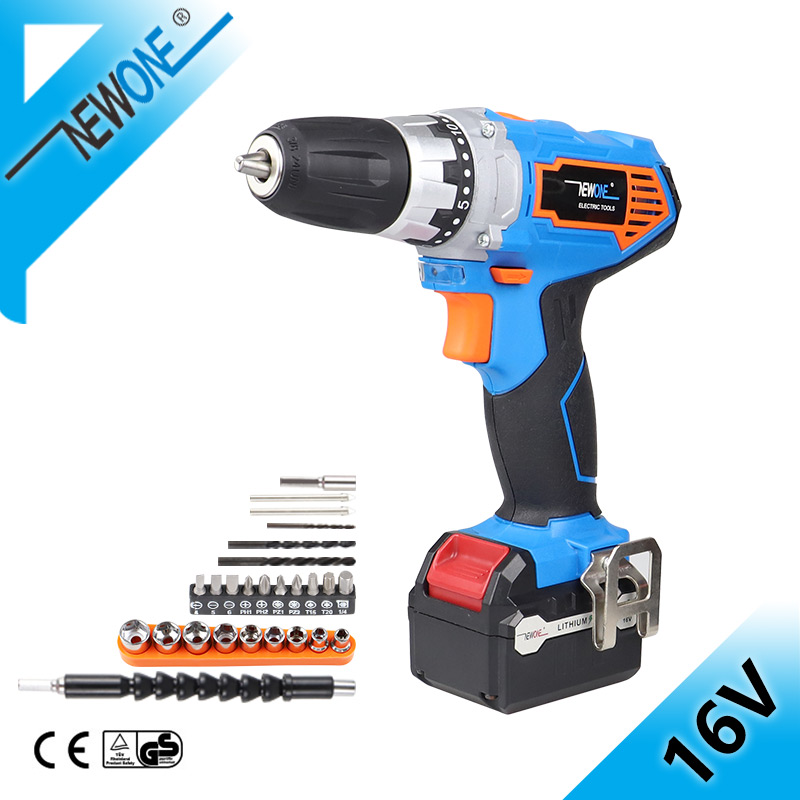NEWONE <font><b>16V</b></font> Cordless Mini Drill 3/8-Inch Ni-Cad Electric Screwdriver Wireless Power With 2-Speed image