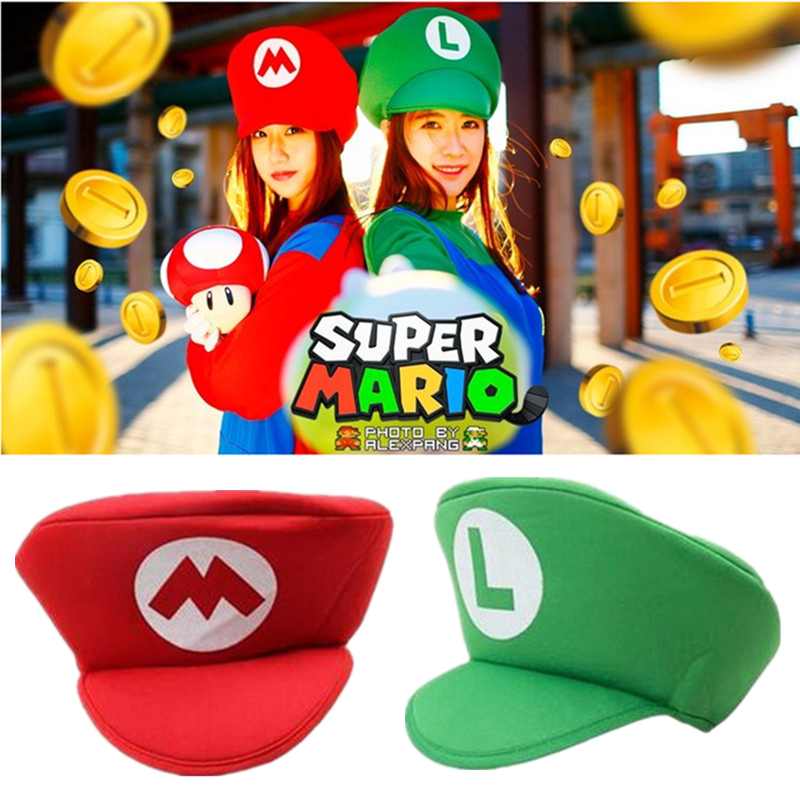 Kids Adult New Anime Cosplay Props Hats Luigi Bros Fabric Dome Hat Baseball Cap Boys Girls Cosplay Accessories