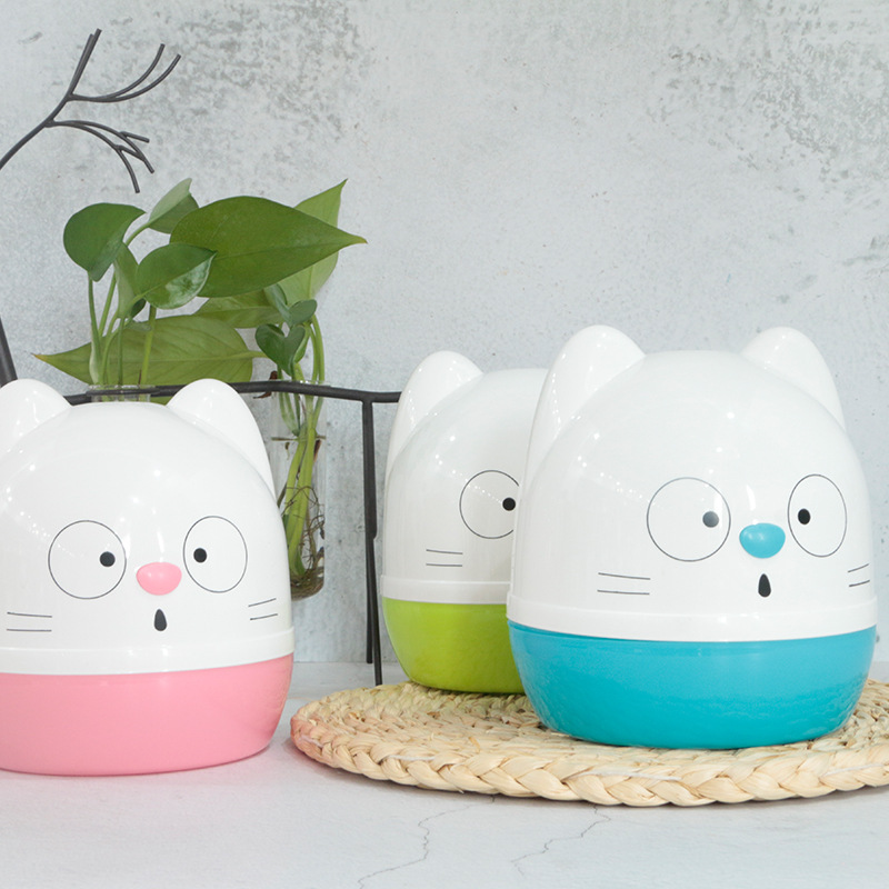 Household Plastic Circle Paper Extraction Box Creative Meng Da Living Room Toilet Tissue Box Cartoon Cat Chart Drum