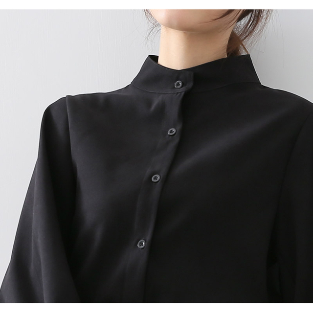 Big Lantern Sleeve Blouse Women Autumn Winter Single Breasted Stand Collar Shirts Office Work Blouse Solid Vintage Blouse Shirts 5