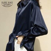 Осенняя модная атласная шелковая рубашка на пуговицах, винтажная блузка для женщин, белая и синяя Дамская свободная уличная рубашка с длинн...