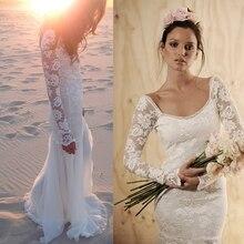 summer style lace long sleeve beach 2018 sexy backless Bridal Gown floor-length vestidos de noiva casamento bridesmaid dresses