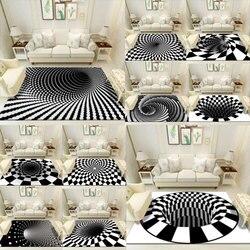 New 3D Carpet Luxury Floor Mats Illusion Anti-skid Spiral Rectangle Carpet 3D Geometric Floor Pads For Living Room Bedroom
