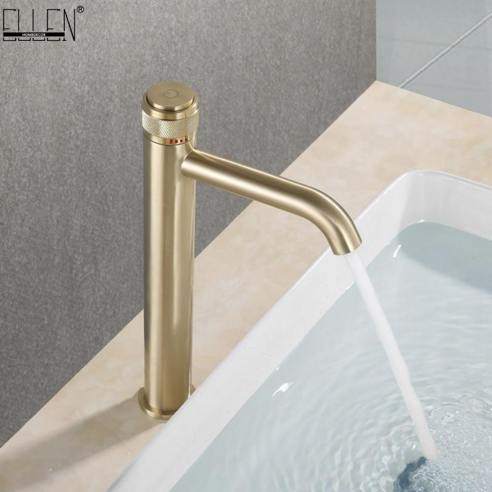 Tall Bathroom Sink Faucet Brushed Gold Hot Cold Water Mixer Crane Deck Mouted Tap Pushed Handle ELM332