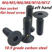 10.9 grau m4m5m6m8m10m12 preto aço carbono mão esquerda rosqueado sextavado soquete cabeça plana parafusos escareados hardware764