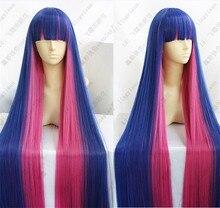 팬티 & 스타킹 가터 벨트 스타킹 무정부 애니메이션 코스프레 가발 머리 120cm 혼합 블루 핑크 긴 파티 cos 가발 + 가발 모자
