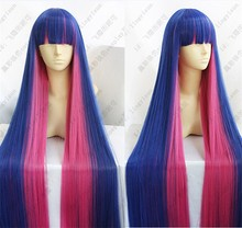 Panty & Stocking With Garterbelt Stocking Anarchy Anime Cosplay Wig Hair 120cm Mixed Blue Pink Long Party Cos Wigs + Wig Cap