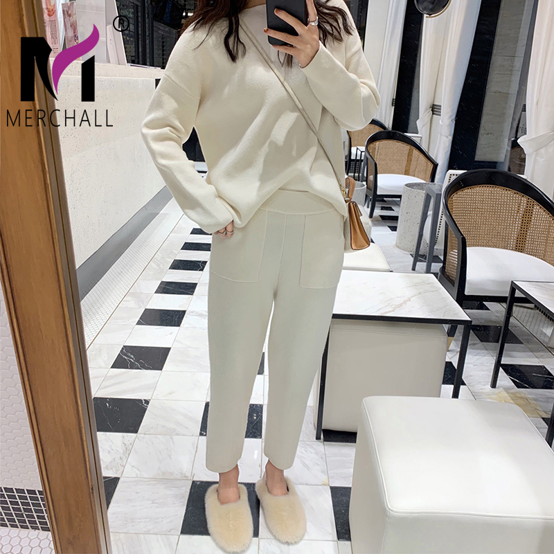 Women Sweater Two Piece Knitted Sets Slim Tracksuit 2020 Spring Autumn Fashion Sweatshirts Sporting Suit Female