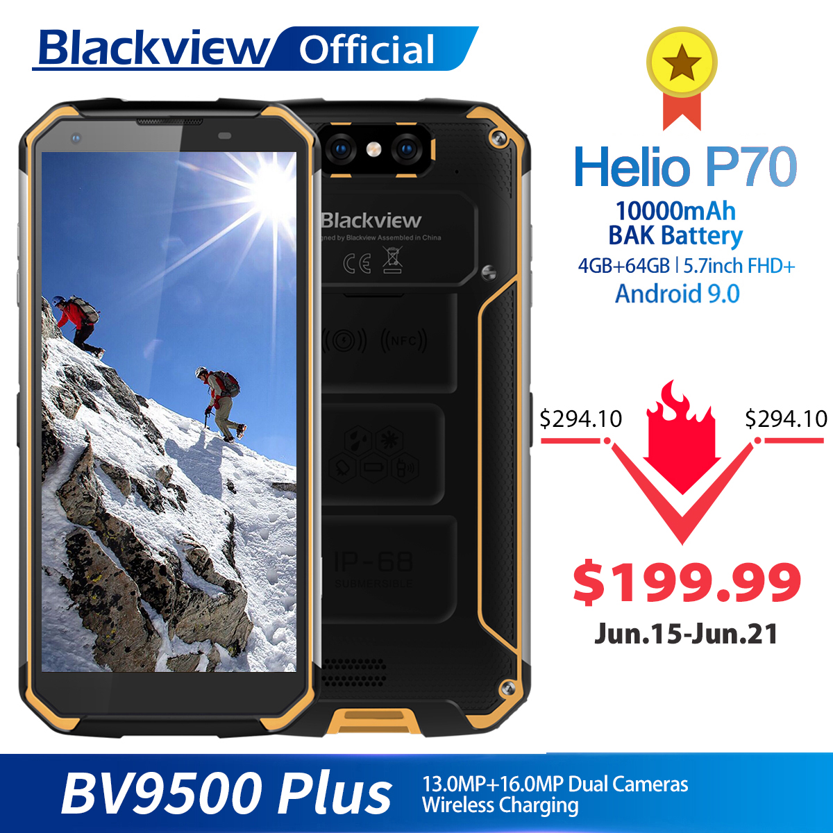 Blackview BV9500 Plus Helio P70 Octa Core Smartphone 10000mAh IP68 Waterproof 5.7inch FHD 4GB + 64GB Android 9.0 Mobile phone|Cellphones|   - AliExpress
